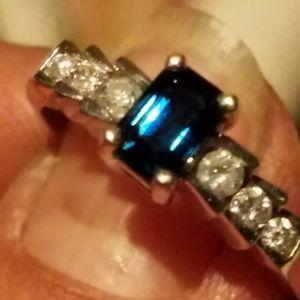 This is a gorgeous sapphire diamond. 14 karat gold